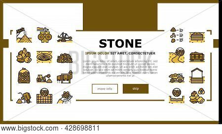 Crushed Stone Mining Landing Web Page Header Banner Template Vector. Heavy Machinery And Excavator,