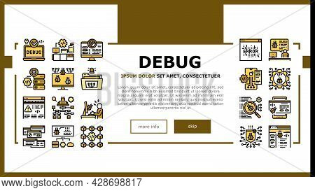 Debug Research And Fix Landing Web Page Header Banner Template Vector. Debugging Servers And Data St