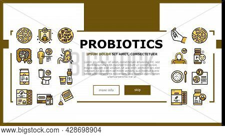 Probiotics Bacterium Landing Web Page Header Banner Template Vector. Dry And Liquid Probiotics, Sorp