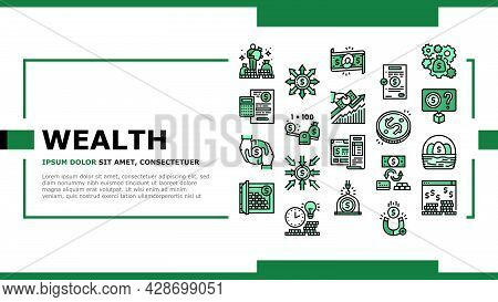 Wealth Finance Capital Landing Web Page Header Banner Template Vector. Millionaire Money Wealth And