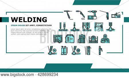 Welding Machine Tool Landing Web Page Header Banner Template Vector. Welding Equipment And Electrode
