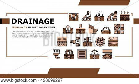 Drainage Water System Landing Web Page Header Banner Template Vector. Road And House, City And Indus