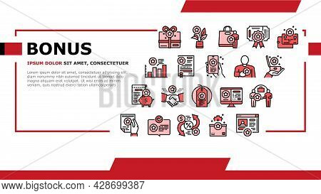 Bonus Present Of Sales Landing Web Page Header Banner Template Vector. Bonus Gift Box For Customer A