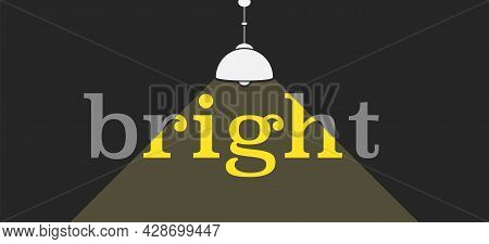 Dark Background With White Ceiling Lamp Flat Silhouette And Greytext With Yellow Light Path