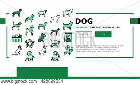Dog Domestic Animal Landing Web Page Header Banner Template Vector. Yorkshire And Rottweiler, Beagle