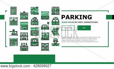 Underground Parking Landing Web Page Header Banner Template Vector. Underground Multilevel Parking B