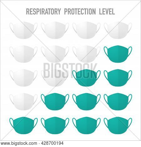 Set Of Different White And Blue Breathing Masks With Shadows Isolated On White Background. Breathing