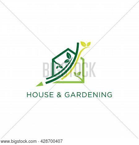 Home Garden Design Logo Template Vector Illustration