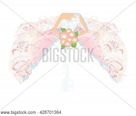 Abstract Beautiful Bride Card - Close-up On A Beautiful Dress , Vector Illustration