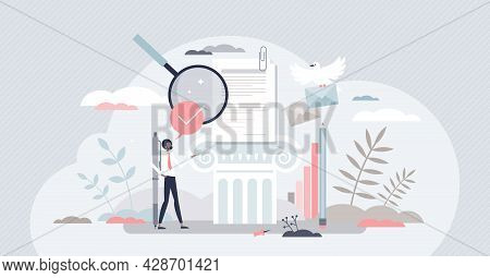 Academic Writing And Educational Literature Publishing Tiny Person Concept. Scientific Document Gram