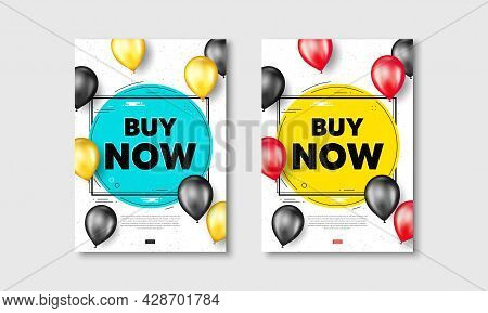 Buy Now Text. Flyer Posters With Realistic Balloons Cover. Special Offer Price Sign. Advertising Dis