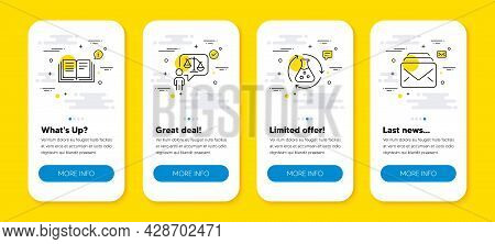 Vector Set Of Chemistry Experiment, Education And Lawyer Line Icons Set. Ui Phone App Screens With L