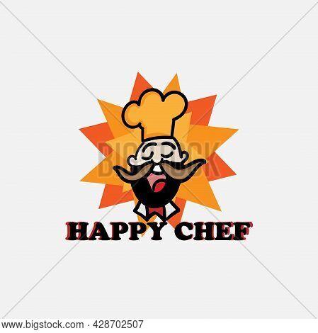 Happy Chef Design Logo Restaurant. Happy Chef Icon Vector