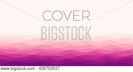 Abstract Waves Cover. Horizontal Background With Curves In Red Purple Colors. Astonishing Vector Ill