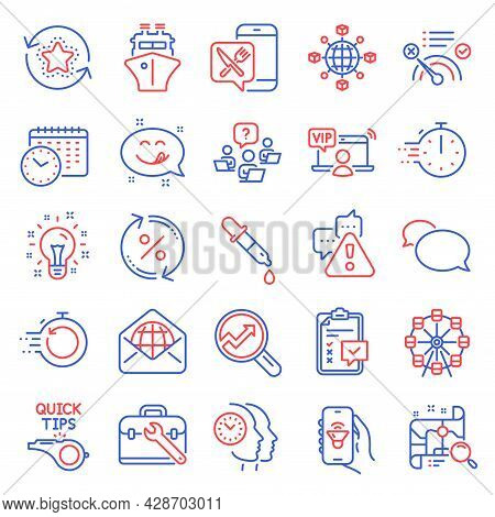 Technology Icons Set. Included Icon As Music App, Cooking Timer, Ferris Wheel Signs. Tool Case, Chec