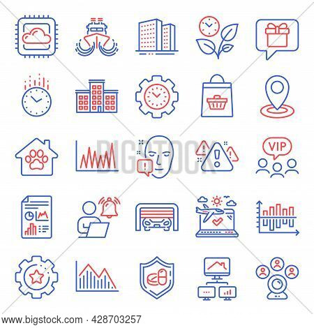 Business Icons Set. Included Icon As Parking Garage, Time Management, Investment Graph Signs. Locati