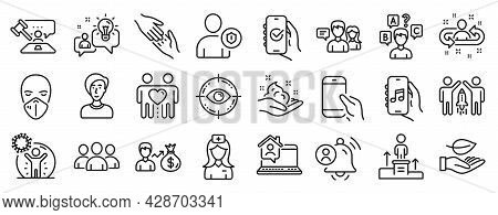 Set Of People Icons, Such As Music App, People Talking, Coronavirus Protection Icons. Approved App,