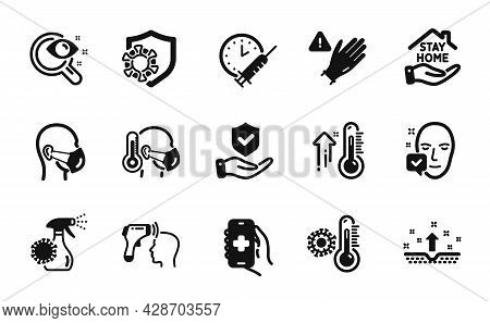 Vector Set Of Vision Test, Medical Mask And Electronic Thermometer Icons Simple Set. High Thermomete