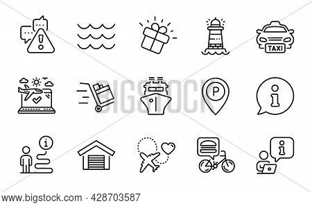 Transportation Icons Set. Included Icon As Warning, Honeymoon Travel, Lighthouse Signs. Food Deliver