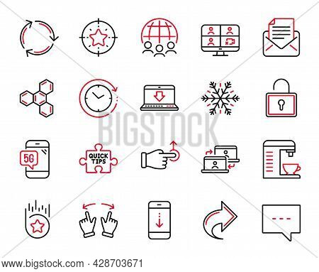 Vector Set Of Technology Icons Related To Share, Global Business And Loyalty Star Icons. Lock, Chemi