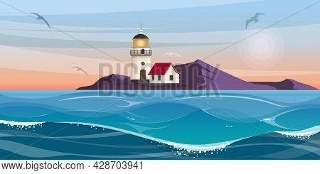 Lighthouse Tower And Small House On The Rocky Coast . Beautiful Seascape With Lighthouse At Sunset .