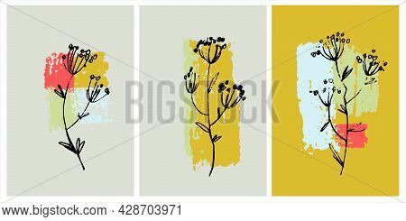 Decor Printable Art. Hand Drawn Vector Paintings Of Flowers On Background With Brushstroke Textures