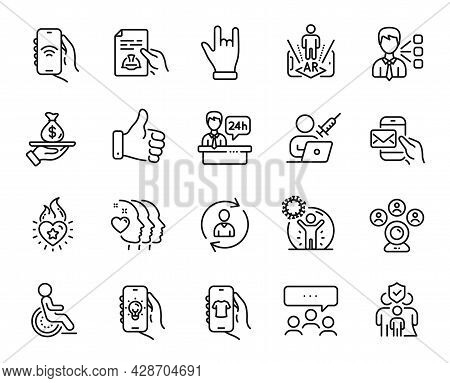 Vector Set Of Augmented Reality, Vaccination Appointment And Video Conference Line Icons Set. Like H