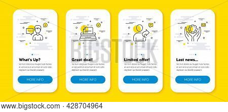 Vector Set Of Refer Friend, Person Talk And Typewriter Line Icons Set. Ui Phone App Screens With Lin
