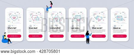 Set Of Line Icons, Such As Love Her, Donation Money, Wedding Locker Icons. Ui Phone App Screens With