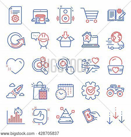 Business Icons Set. Included Icon As Engineering Documentation, Technical Documentation, Tractor Sig