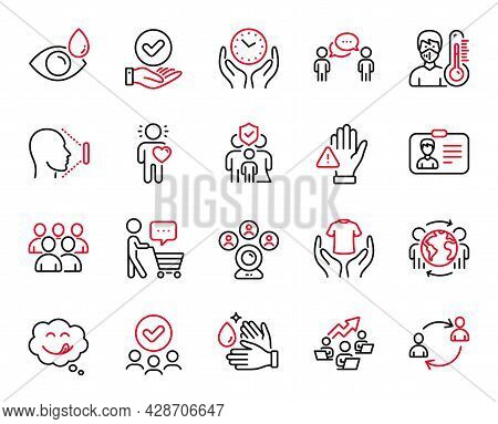 Vector Set Of People Icons Related To Approved Checkbox, Dont Touch And Thermometer Icons. Safe Time