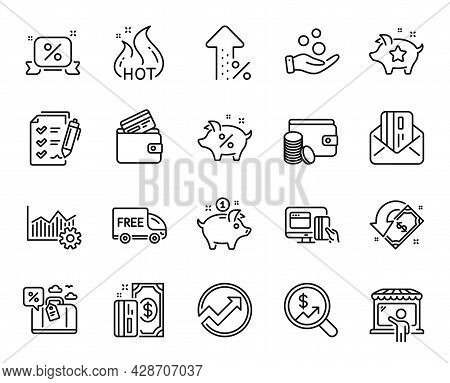 Vector Set Of Payment Method, Increasing Percent And Saving Money Line Icons Set. Discounts Ribbon,