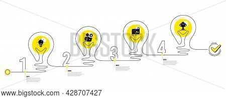 Lightbulb Journey Path Infographics. Business Infographic Timeline With 4 Steps. Workflow Process Di