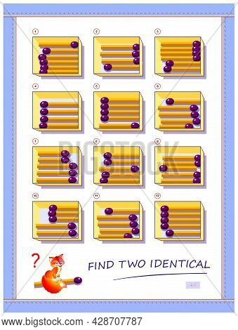 Logic Puzzle Game For Children And Adults. Need To Find Two Identical Boxes With Matchsticks. Printa