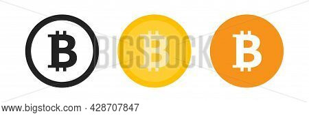 Bitcoin Icon Logo Payment Symbol On Circle Set. Cryptocurrency Btc Symbol In Black, Golden And Orang