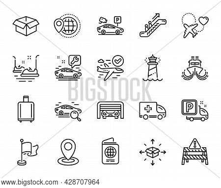 Vector Set Of Confirmed Flight, Lighthouse And Escalator Line Icons Set. Search Car, Location And Ho