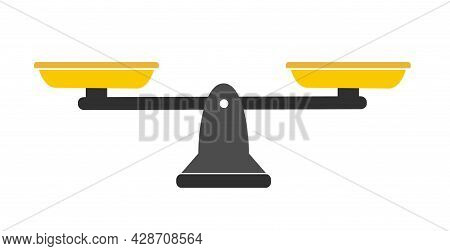 Scales In Balance And Imbalance. Flat Libra Icon With Gold Bowls In Equal Position.