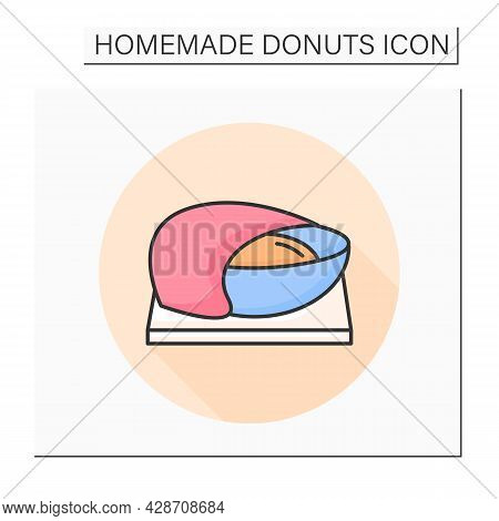 Dough Color Icon. Gluten Relaxing And Active Yeast Fermentation. Concept Of Home Bread Baking And Fl