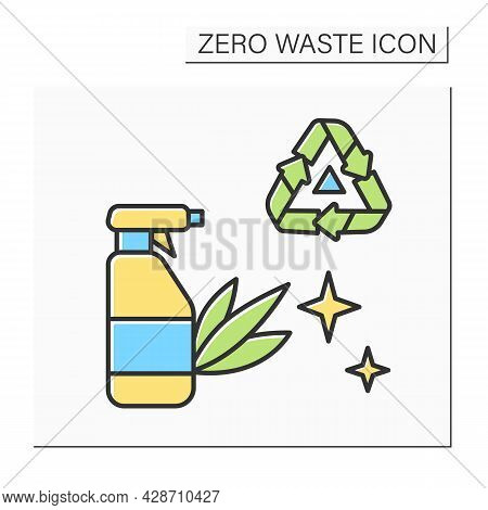 Cleaning Package Recycling Color Icon. Plastic Household Spray Bottle. Safe And Effective Eco Househ