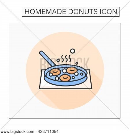 Donuts Frying Color Icon. Homemade Doughnuts Deep Frying In Skillet Pan. Concept Of Home Bakery And