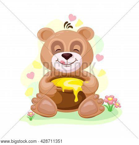 Cute Teddy Bear With Honey Pot In Cartoon Style. The Bear Loves Honey. Vector Children's Illustratio