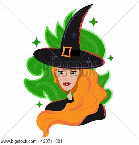 Witch Portrait In Black Hat And Red Hair. Halloween Red Witch Avatar In Cartoon Flat Style. Magican