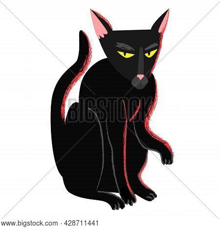 Black Witch Halloween Cat In Cartoon Flat Style. Black Creepy Grumpy Cat. Hellcat Clipart Isolated O