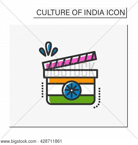 Indian Film Color Icon. Traditional Indian Cinematography. Bollywood. Shadow Clapper Board. Indian H