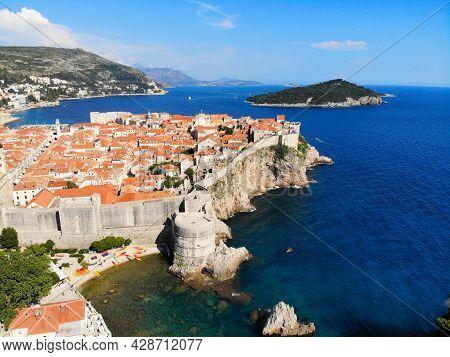 Dubrovnik City Landmark, Croatia. Medieval City Walls. Aerial View Of Dubrovnik.