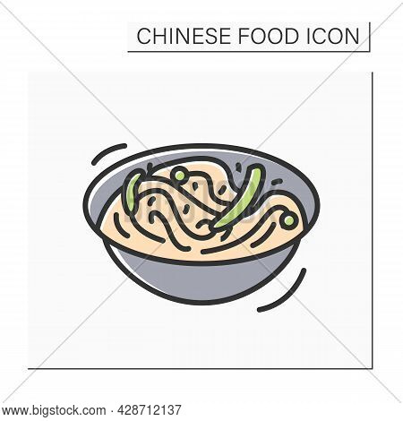 Chow Mein Color Icon. Chinese Egg Noodles Bowl With Vegetables Or Meat. Concept Of Tasty And Easy Wo
