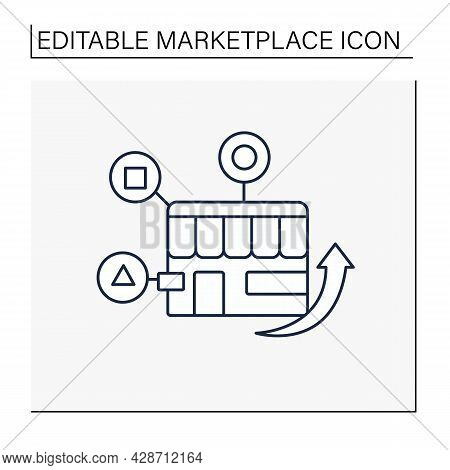 Homogeneity Marketplace Line Icon.selling Similar Products Or Services.marketplace Concept. Isolated