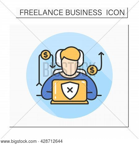 Different Incomes Color Icon.freelance Risks.profit Growth Or Decline Concept.freelancer Is Without