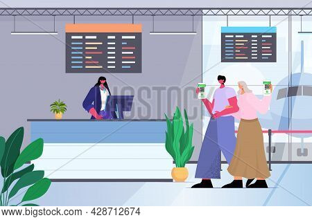 Travelers Using Digital Immunity Passports At Check In Airport Counter Risk Free Covid-19 Pcr Certif