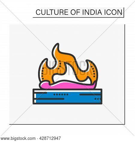 Hindu Funeral Color Icon. Hindu Antyesti Ritual. Body Cremation. Last Sacrifice. Funeral Ceremony. I